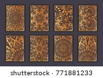 card set with mosaic lace... | Shutterstock .eps vector #771881233