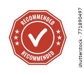 recommended red flat badge on... | Shutterstock .eps vector #771890497