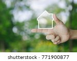 house icon with copy space on... | Shutterstock . vector #771900877