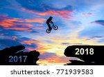 a man ride a bike jumping from...   Shutterstock . vector #771939583