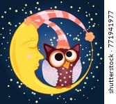 a sweet cartoon owl with eyes... | Shutterstock .eps vector #771941977