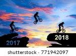 a man ride a bike jumping from...   Shutterstock . vector #771942097