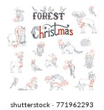 forest christmas set. vector... | Shutterstock .eps vector #771962293