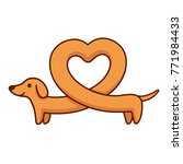 cute cartoon dachshund with... | Shutterstock . vector #771984433