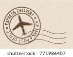 round brown postmark on beige... | Shutterstock .eps vector #771986407