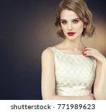 beautiful model girl with short ...   Shutterstock . vector #771989623