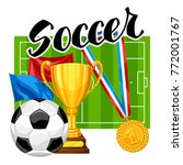 soccer or football background... | Shutterstock .eps vector #772001767
