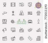 cinema  movie line icons set ... | Shutterstock .eps vector #772011193