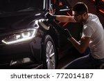 polished black car polishing... | Shutterstock . vector #772014187