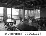 wooden tables and unoccupied... | Shutterstock . vector #772021117