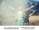 two girls happy near hot... | Shutterstock . vector #772021267