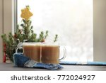 two glass glasses with frothy... | Shutterstock . vector #772024927