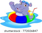 cartoon hippo with inflatable... | Shutterstock . vector #772026847