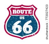 route 66 highway road sign... | Shutterstock .eps vector #772027423