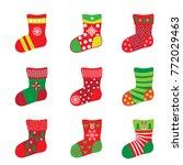 christmas socks for happy new... | Shutterstock .eps vector #772029463