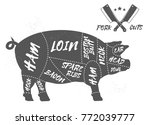 cut of meat set. poster butcher ... | Shutterstock .eps vector #772039777