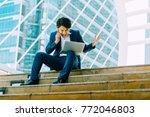 successful asian business man... | Shutterstock . vector #772046803