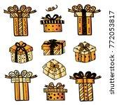 gift boxes set | Shutterstock .eps vector #772053817