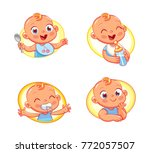 happy smiling newborn boy or... | Shutterstock .eps vector #772057507