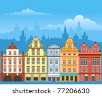 street with houses in different ... | Shutterstock .eps vector #77206630
