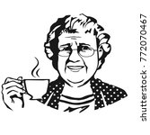 old lady with cup.sketch | Shutterstock .eps vector #772070467