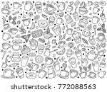 vector set of coffee doodle | Shutterstock .eps vector #772088563