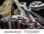 tools kit and protective gloves  | Shutterstock . vector #772116037