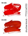 vector red paint smear stroke... | Shutterstock .eps vector #772116553