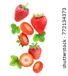 falling strawberries isolated... | Shutterstock . vector #772134373
