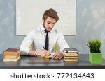 young caucasian man dressed... | Shutterstock . vector #772134643