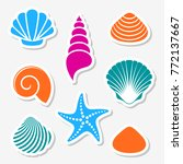 vector sea shells and starfish... | Shutterstock .eps vector #772137667