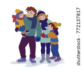 family portrait of father ... | Shutterstock .eps vector #772137817