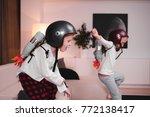 funny cute dreamer siblings... | Shutterstock . vector #772138417
