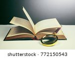 magnifying glass and book  | Shutterstock . vector #772150543