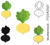 turnip icon colored  black and... | Shutterstock .eps vector #772192537