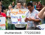 activists signs express support ... | Shutterstock . vector #772202383