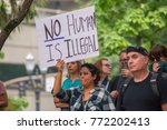 activists signs express support ... | Shutterstock . vector #772202413