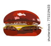 big red hamburger with onion... | Shutterstock .eps vector #772219633