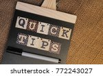 quick tips concept.book  pen... | Shutterstock . vector #772243027