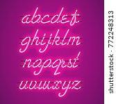 glowing purple neon script font ... | Shutterstock .eps vector #772248313