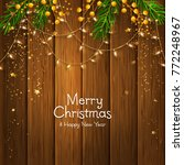 christmas card. fir branches ... | Shutterstock .eps vector #772248967