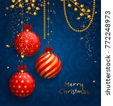 christmas card with red balls ... | Shutterstock .eps vector #772248973
