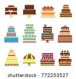 birthday cake vector cheesecake ... | Shutterstock .eps vector #772253527