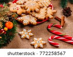 christmas gingerbread cookies... | Shutterstock . vector #772258567