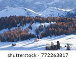 wooden mountain chalets with a... | Shutterstock . vector #772263817
