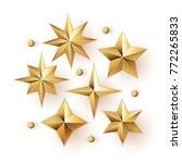 realistic golden stars vector... | Shutterstock .eps vector #772265833