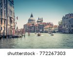 grand canal with santa maria... | Shutterstock . vector #772267303