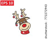 deer of santa claus icon on... | Shutterstock .eps vector #772272943
