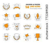 awards and prizes line icons... | Shutterstock .eps vector #772289083