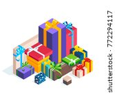isometric pile of gift boxes... | Shutterstock .eps vector #772294117